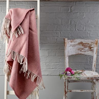 Dusky Pink & Grey Herringbone Wool Throw