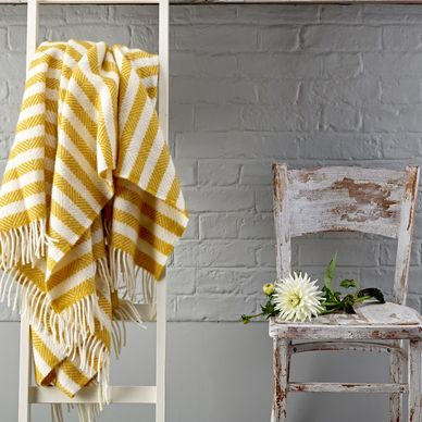 Yellow & Cream Stripe Herringbone Wool Throw