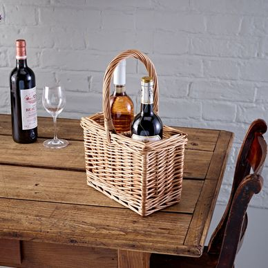 2 Bottle Wicker Basket