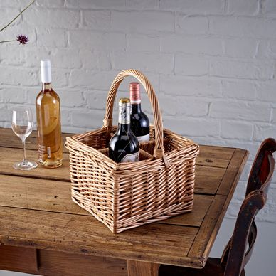 4 Bottle Wicker Basket