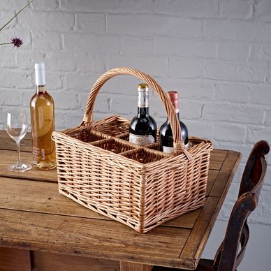 6 Bottle Wicker Basket