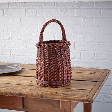 Tall Wicker Shopper - Rustic