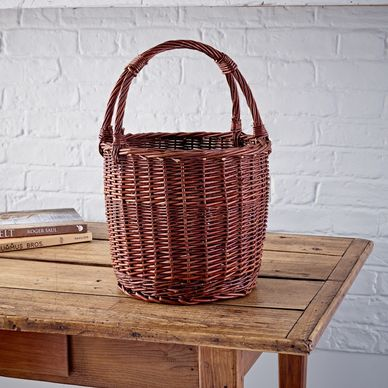 Round Wicker Shopper - Rustic