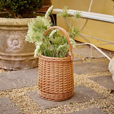 Tall Wicker Shopper - Honey