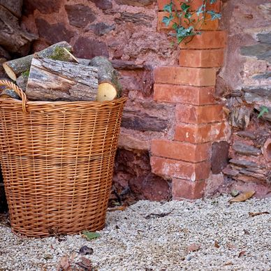 Large Lined Wicker Log Basket
