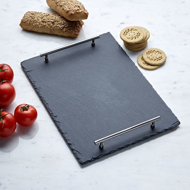 Slate Platter with Metal Handles