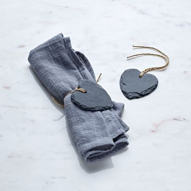 Slate Heart Tags Pack of 12