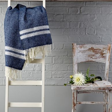 Navy & Grey Stripe Herringbone Wool Throw